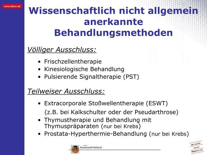 Wissenschaftlich nicht allgemein anerkannte Behandlungsmethoden