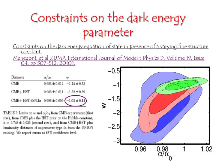 Constraints on the dark energy parameter