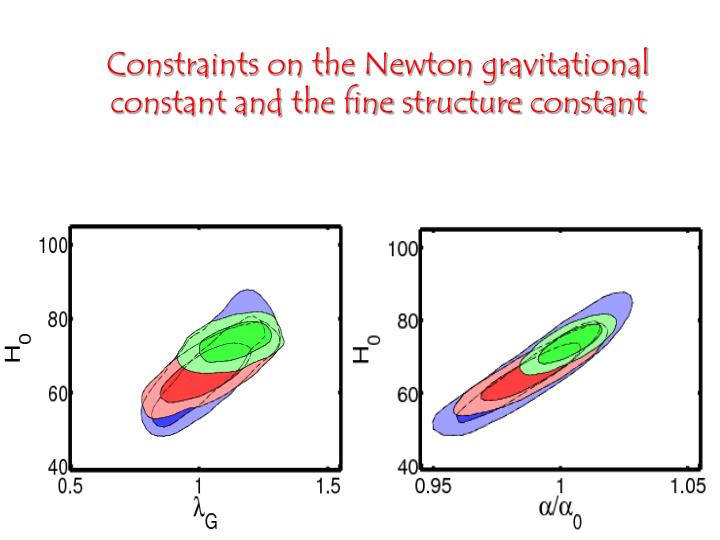 Constraints on the Newton gravitational constant and the fine structure constant