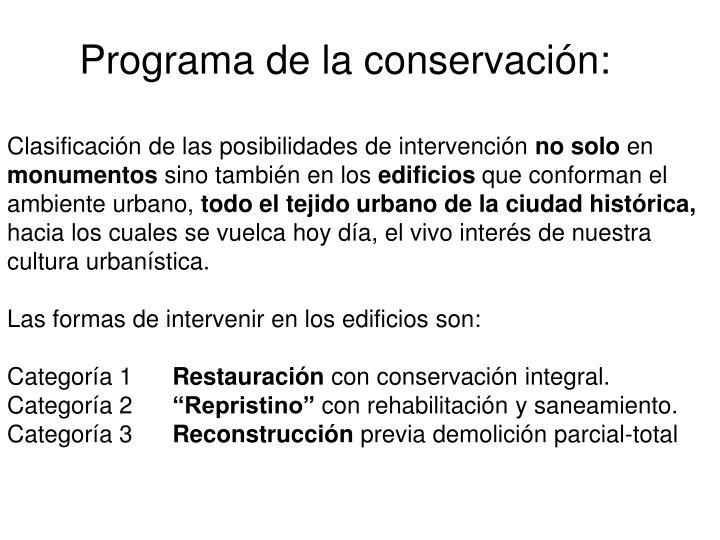 Programa de la conservación: