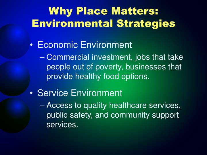 Why Place Matters: Environmental Strategies