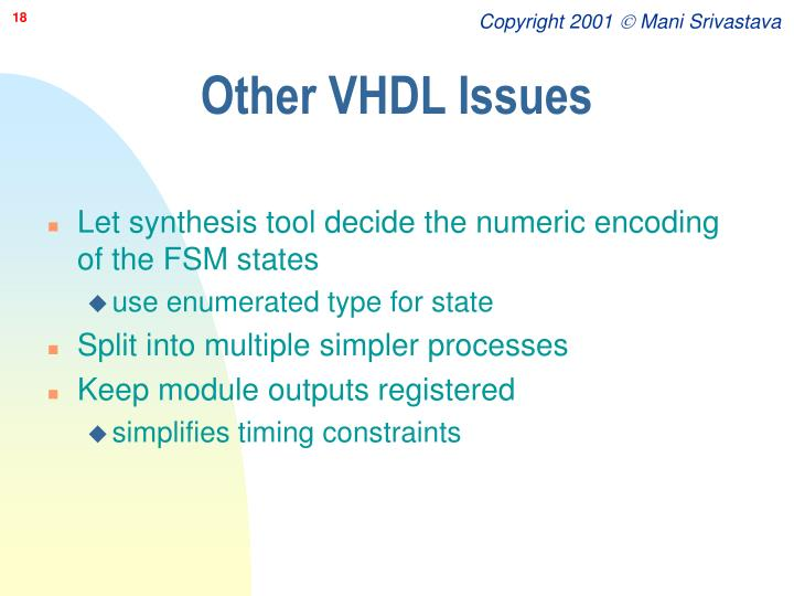 Other VHDL Issues