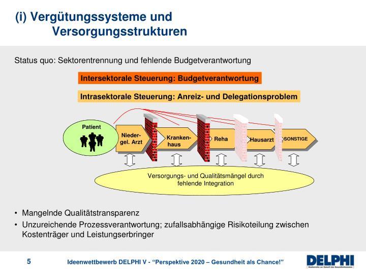 (i) Vergütungssysteme und Versorgungsstrukturen