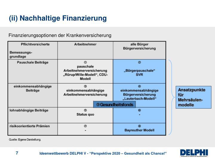 (ii) Nachhaltige Finanzierung