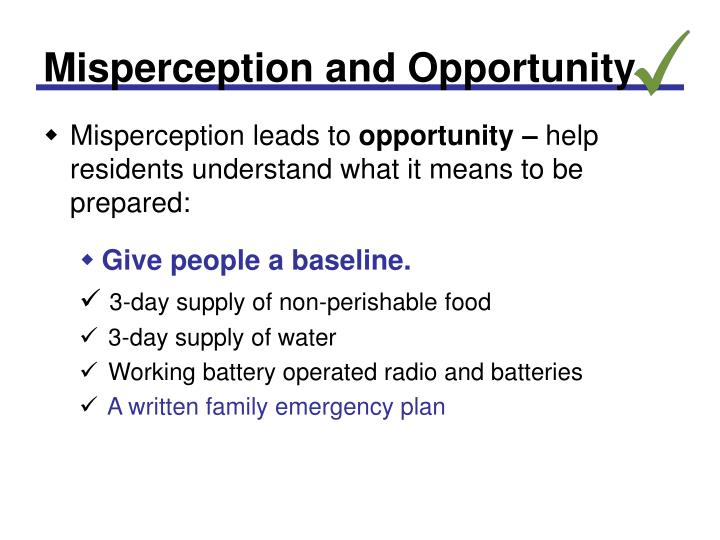 Misperception and Opportunity