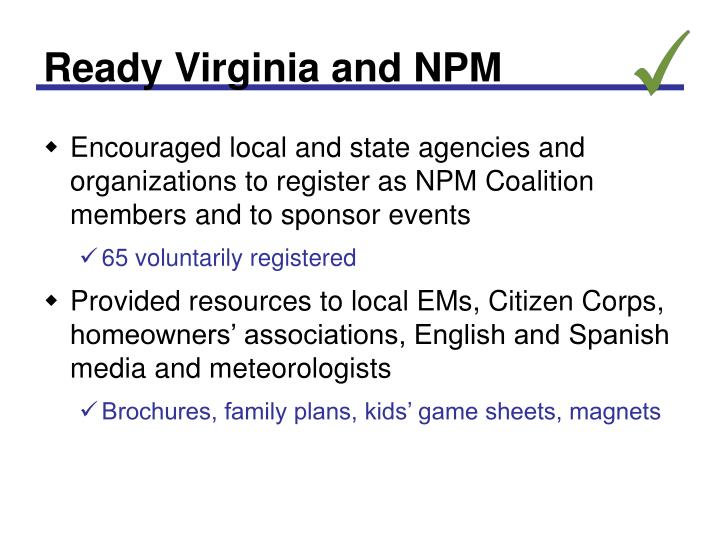 Ready Virginia and NPM