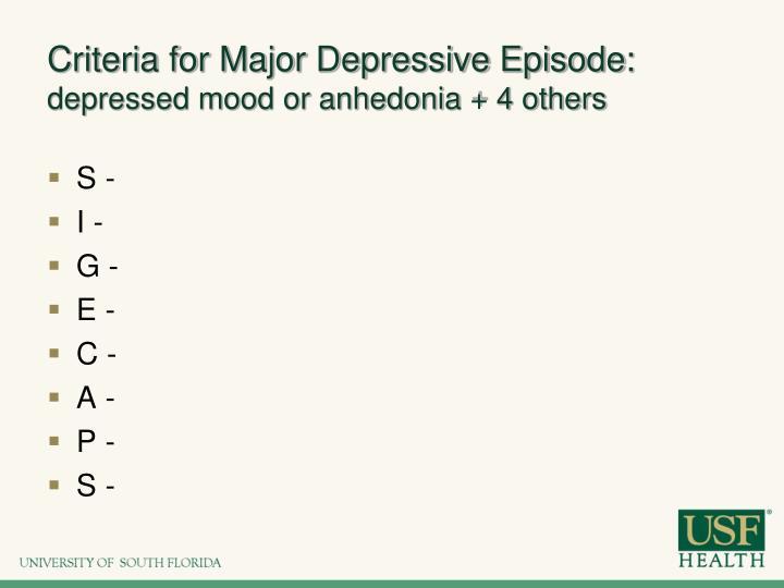 Criteria for Major Depressive Episode: