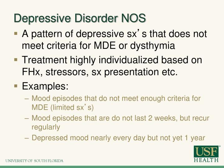 Depressive Disorder NOS