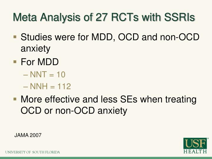 Meta Analysis of 27 RCTs with SSRIs