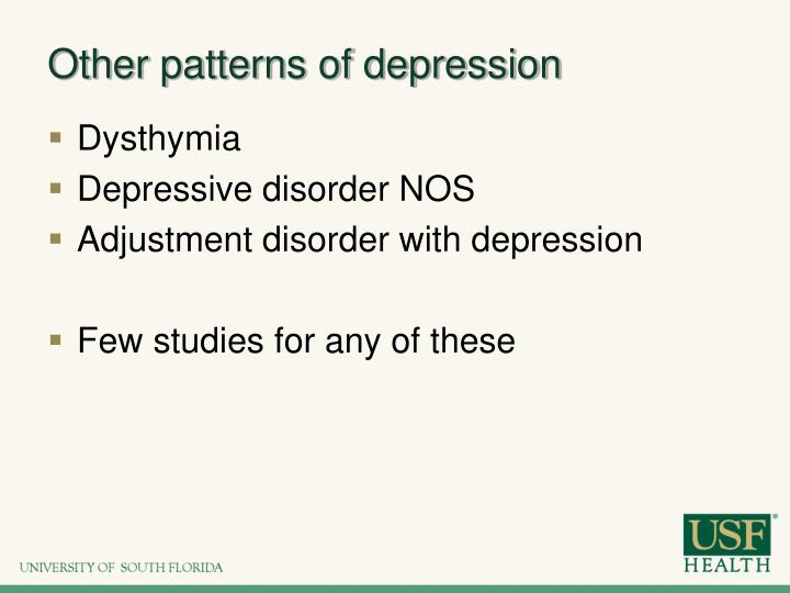Other patterns of depression