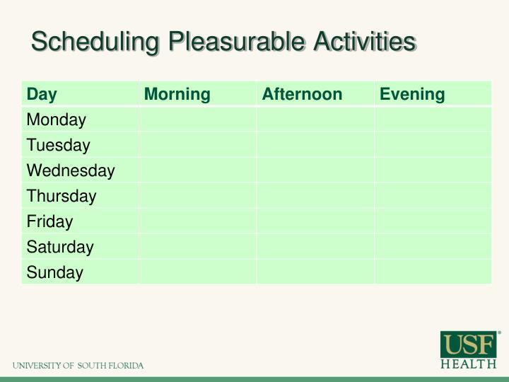 Scheduling Pleasurable Activities