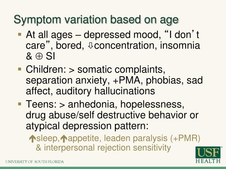 Symptom variation based on age