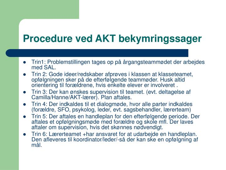 Procedure ved AKT bekymringssager