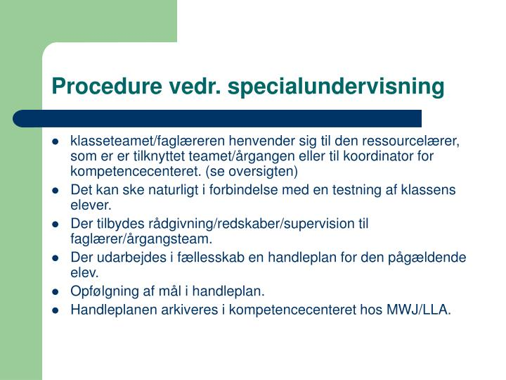 Procedure vedr. specialundervisning