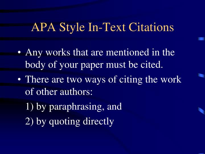 APA Style In-Text Citations