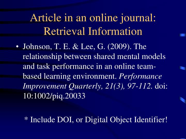 Article in an online journal: Retrieval Information