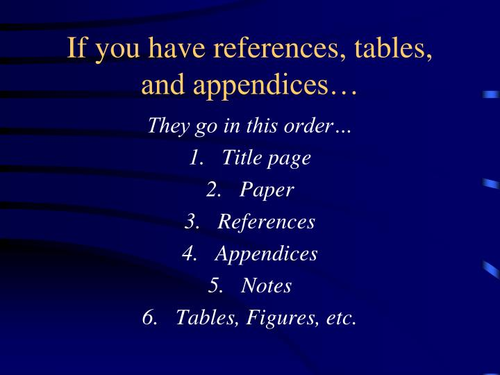 If you have references, tables, and appendices…