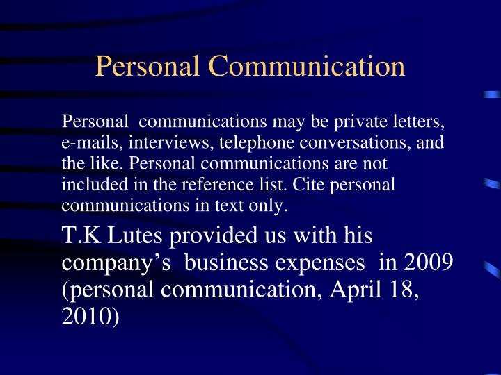 Personal Communication