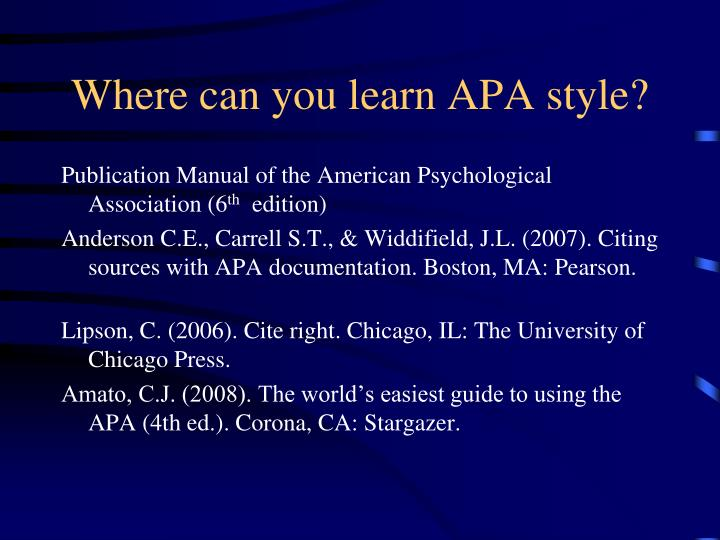 Where can you learn APA style?