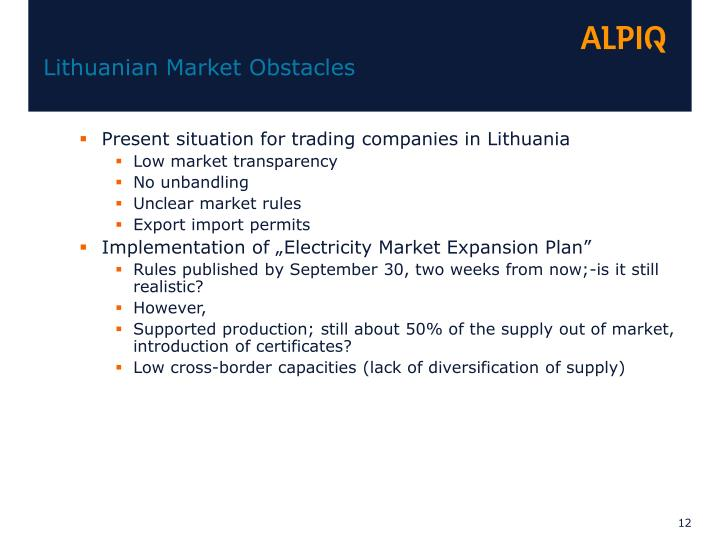 Lithuanian Market Obstacles