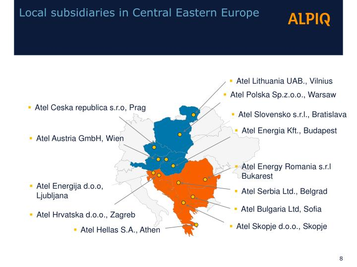 Local subsidiaries in Central Eastern Europe