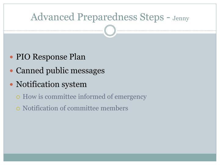 Advanced Preparedness Steps -