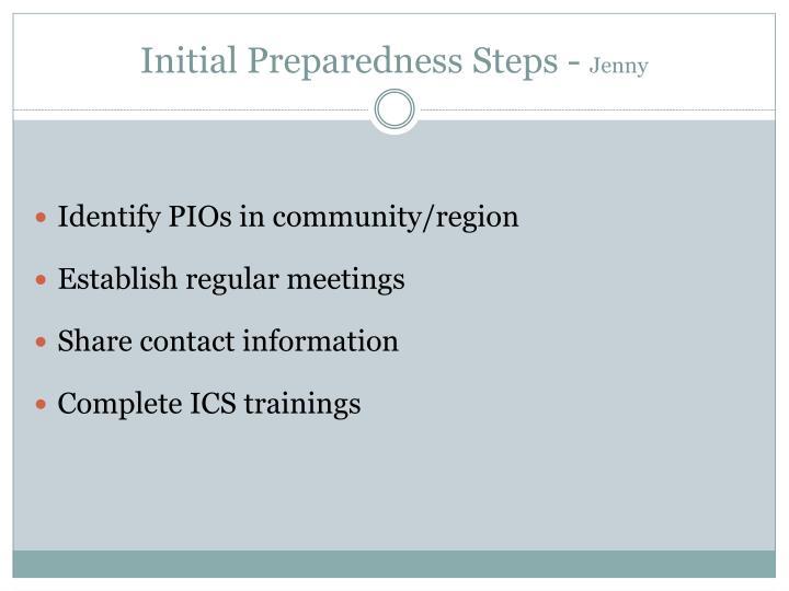 Initial Preparedness Steps -