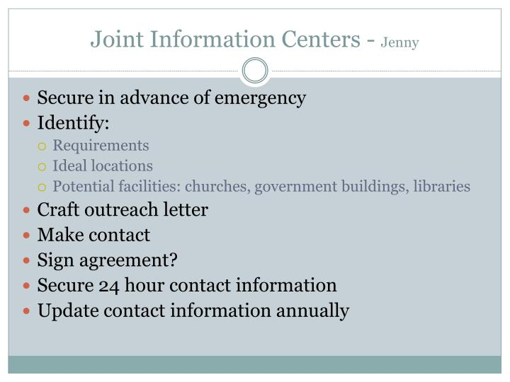 Joint Information Centers -