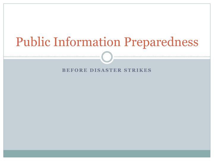 public information preparedness