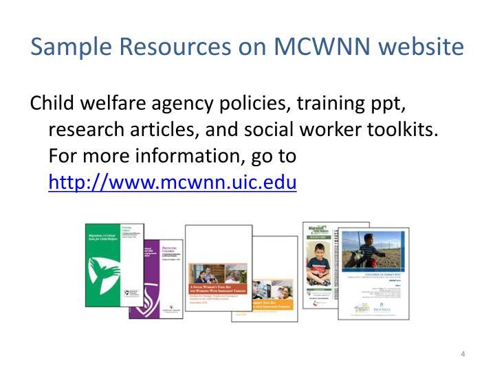 Sample Resources on MCWNN website