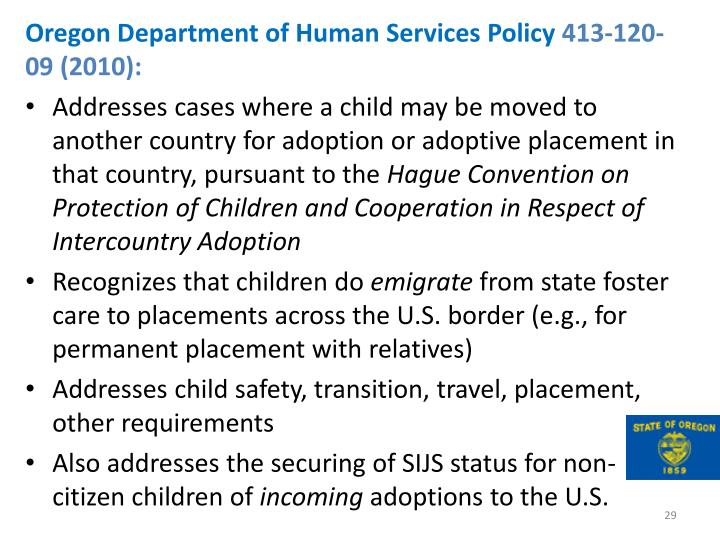 Oregon Department of Human Services Policy