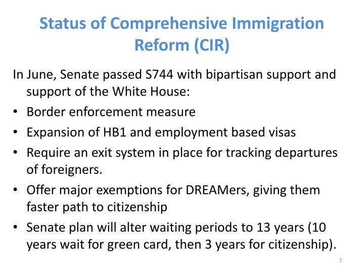 Status of Comprehensive Immigration Reform (CIR)