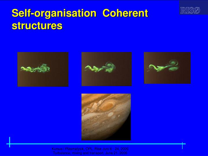 Self-organisation  Coherent  structures