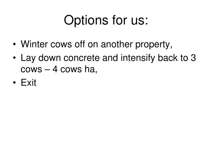 Options for us: