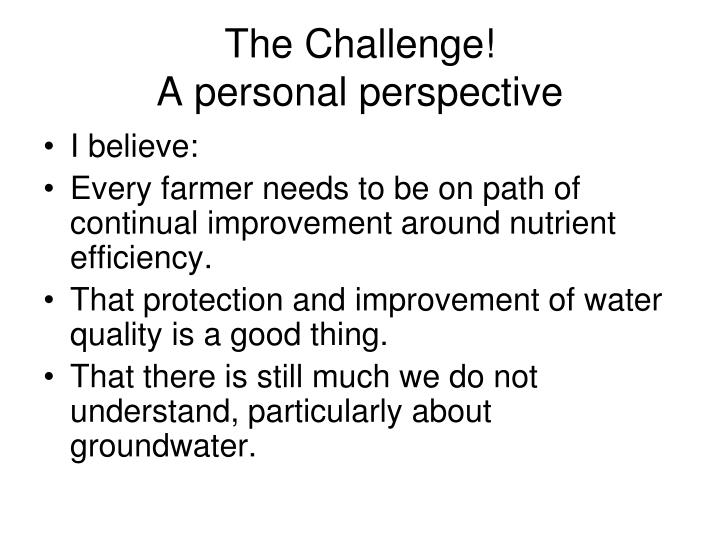 the challenge a personal perspective