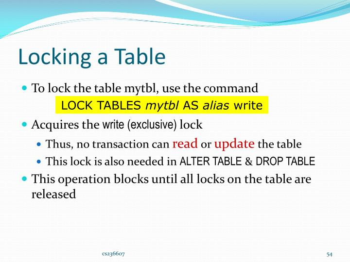 Locking a Table