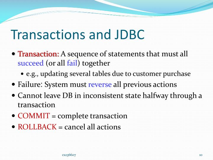 Transactions and JDBC