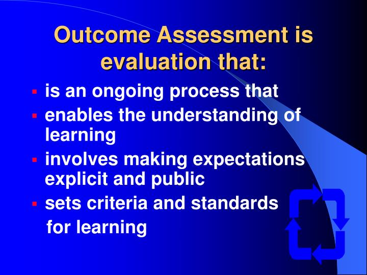 Outcome Assessment is evaluation that: