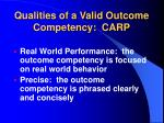 qualities of a valid outcome competency carp1
