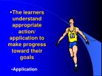 the learners understand appropriate action application to make progress toward their goals