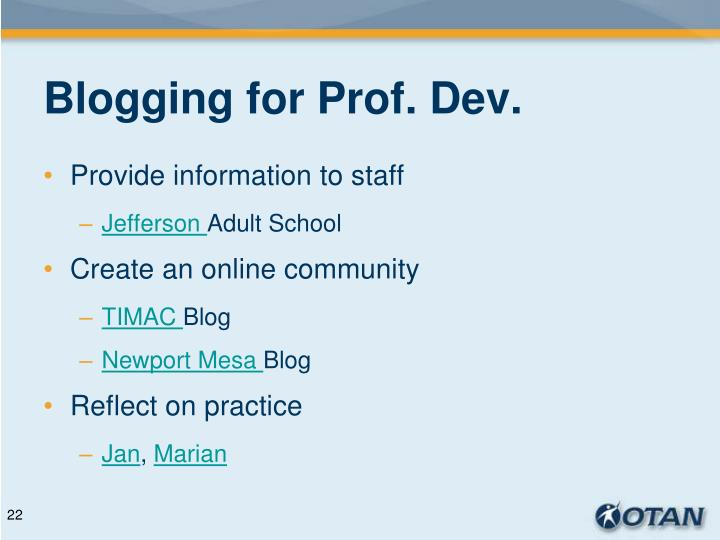 Blogging for Prof. Dev.
