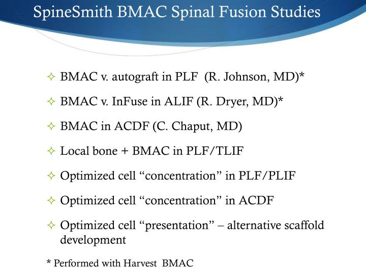 SpineSmith BMAC Spinal Fusion Studies