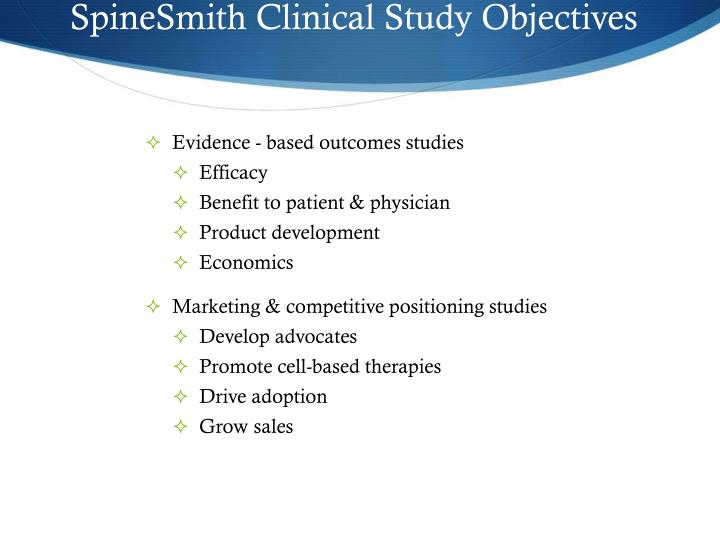 SpineSmith Clinical Study Objectives