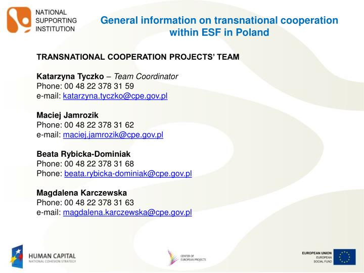 General information on transnational cooperation