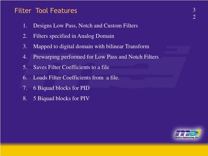 Filter  Tool Features