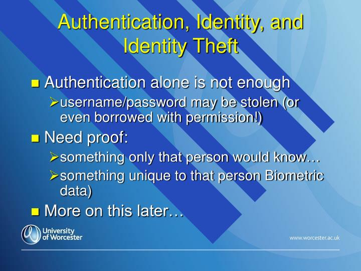 Authentication, Identity, and Identity Theft