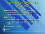 authentication identity and identity theft