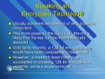 breaking an encryption technique