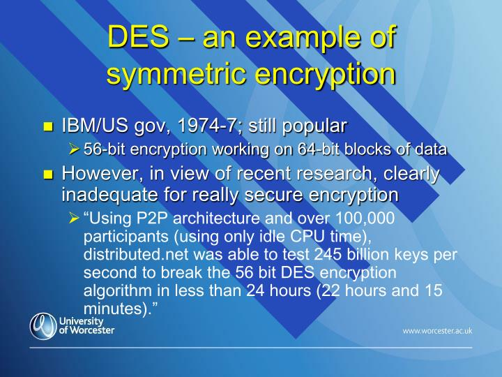 DES – an example of symmetric encryption