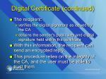 digital certificate continued